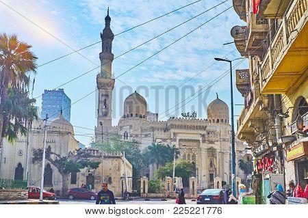 Alexandria, Egypt - December 17, 2017:  Abu Al-abbas Al-mursi Mosque Is The Notable Landmark Of The