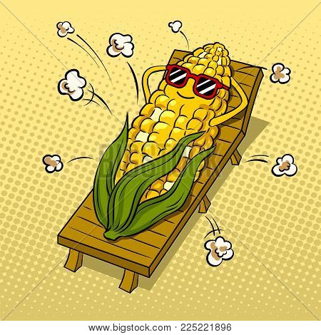Corn tans on beach and turns into popcorn pop art retro vector illustration. Cartoon food character. Color background. Comic book style imitation.