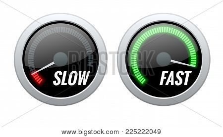 Credit Score Indicator or Fast and Slow Download Speedometers. Vector illustration