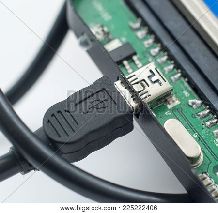 External hard drive and usb cable, close up ,image
