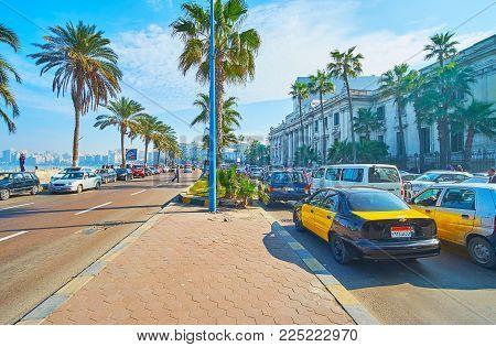 Alexandria, Egypt - December 17, 2017: The Traffic Jam In Corniche Avenue, The Seaside Promenade Of