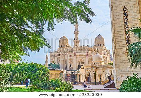 Alexandria, Egypt - December 17, 2017: The Architectural Ensemble Of Abu Al-abbas Al-mursi Mosque, I