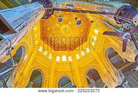 Alexandria, Egypt - December 17, 2017: The Dome Abu Al-abbas Al-mursi Mosque, Decorated With Carved