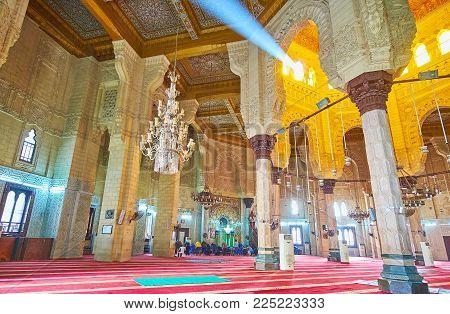 Alexandria, Egypt - December 17, 2017: Interior Of Abu Al-abbas Al-mursi Mosque, Decorated With Carv