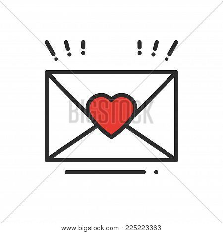 Love letter envelope line icon. Happy Valentine day sign and symbol. Heart shape. Love, couple, relationship, dating, wedding, holiday, romantic amour declaration congratulation theme