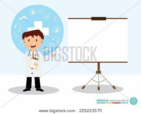 The  professional medical team for health life concept with logo, little doctor boy, girl in gown suit and cartoon act  - vector illustration Eps 10.