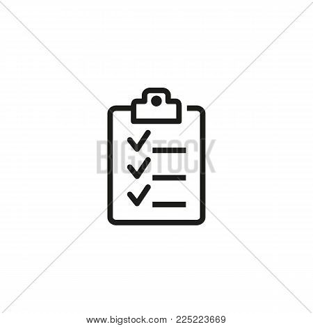 Icon of survey on clipboard. Checklist, application, agreement. Document concept. Can be used for topics like information, report, questionnaire