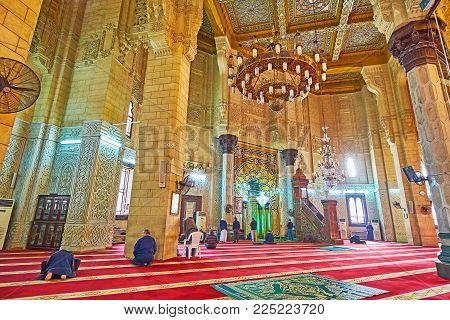 Alexandria, Egypt - December 17, 2017: Abu Al-abbas Al-mursi Mosque Boasts Unique Interior Wih Rich