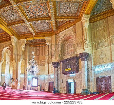 Alexandria, Egypt - December 17, 2017: The Stone Walls Of Abu Al-abbas Al-mursi Mosque, Decorated Wi