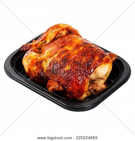 Grilled Whole Chicken Isolated on white background. Selective focus.