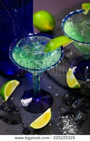 Summer Blue Margarita Alcoholic Cocktail. Selective focus.