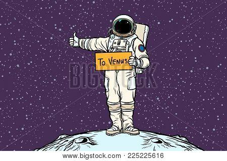 Astronaut hitches rides on Venus. Pop art retro vector illustration