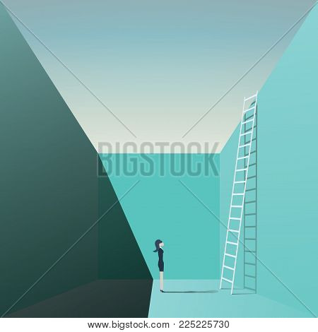Business woman career opportunity vector concept with businesswoman standing in front of corporate ladder symbol. eps10 vector illustration.