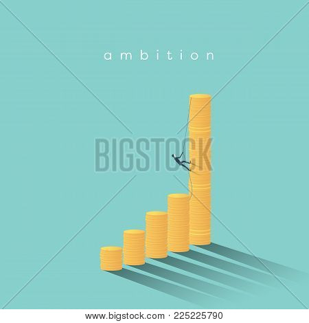 Business promotion and pay rise vector concept. Businessman climbing on coins. Symbol of success, profit, achievement. Eps10 vector illustration.