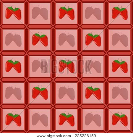 Vector images of strawberries in a photo frame lined in the form of tiles with shadows of a shadow from a remote strawberry. Flat