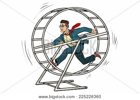 businessman in a squirrel wheel. Pop art retro comic book vector illustration