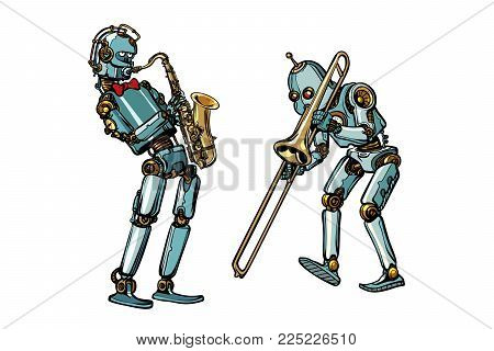 brass band musicians robots, saxophone and trombone. isolated on white background. Pop art retro vector illustration comic cartoon hand drawing