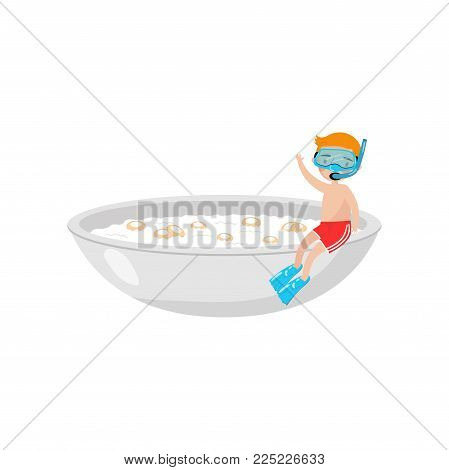 cute boy in diving mask sitting on the edge of a giant bowl with breakfast cereal in milk cartoon vector Illustration isolated on a white background.