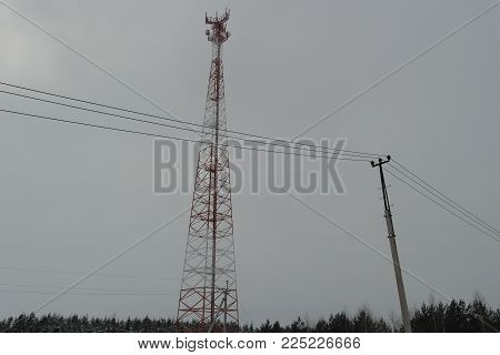 Tower Of Cellular Communication With The Hung Equipment