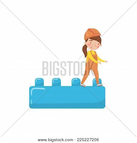 Cute girl builder and buiding toy block, preschool activities and early childhood education cartoon vector Illustration isolated on a white background
