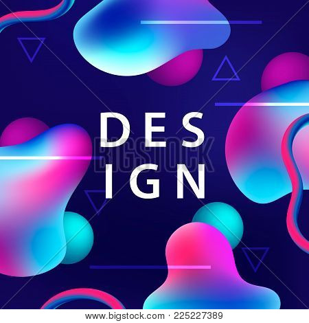 Creative design with plastic shapes. Modern style abstraction background. Abstract background of liquid colorful shapes. Fluid shapes, triangles, lines composition. Futuristic design cover. Vector