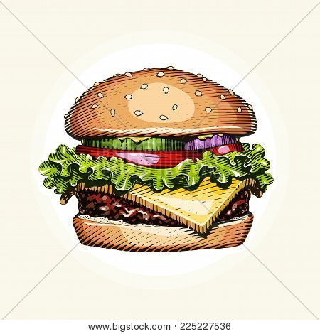 Hamburger. Fast food. Engraving vintage style. Classic Cheeseburger. Eps10 vector illustration.