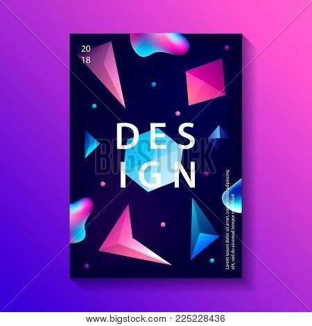 Abstract trendy cosmic poster with crystal gems and pyramid geometric shapes. Neon galaxy background. 80s style. Poster with geometric polygon pyramid or crystal. Vector illustration.