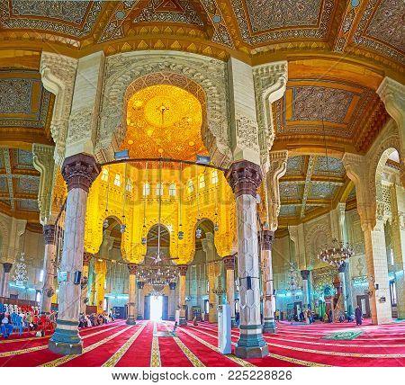 ALEXANDRIA, EGYPT - DECEMBER 17, 2017: The prayer hall of Abu al-Abbas al-Mursi Mosque, notable city landmark and fine example of Islamic architecture, on December 17 in Alexandria.