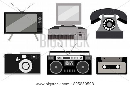 black and white set of retro electronics, technology. Old, vintage, retro, hipster, antique kinescope TV, computer with floppy, disk phone, camera, cassette audio tape recorder, audio cassette. Vector illustration.