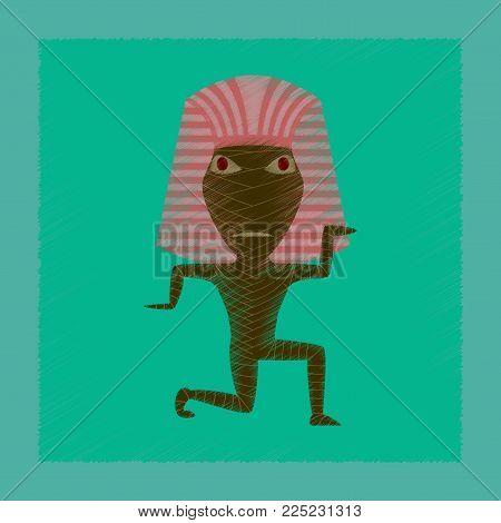 flat shading style icon of mummy halloween monster