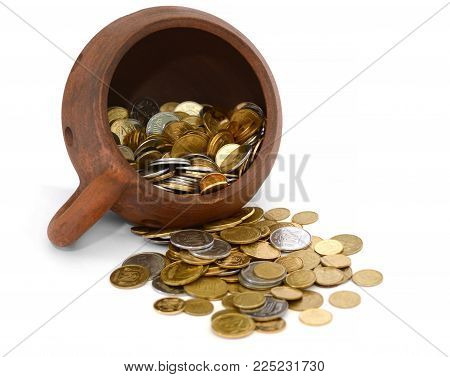 Clay crock, pot  of money on a white background