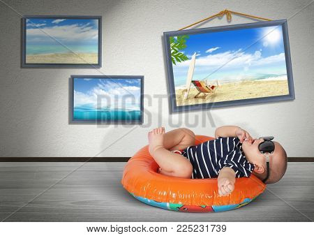 Funny baby on swimming circle at home, as on the beach. Vacation concept