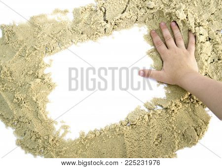 form a square of sand with hand for text isolated on white background