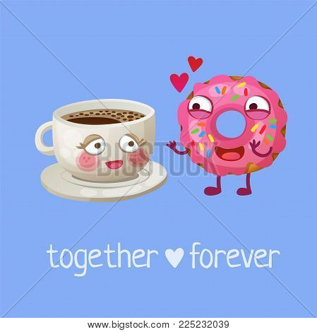 Funny food characters Together Forever. Cheerful emoji cup of coffee and pink sprinkled donut. Cartoon vector illustration