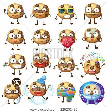 Cartoon funny choc chip cookie characters vector illustration. Cute food face emoji icons isolated on white backgound. Cartoon food emoticon face. Set 2
