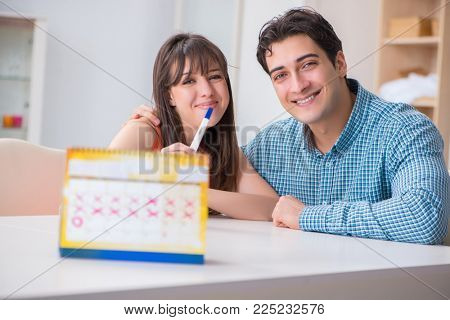 Young family in pregnancy planning concept with ovulation calendar