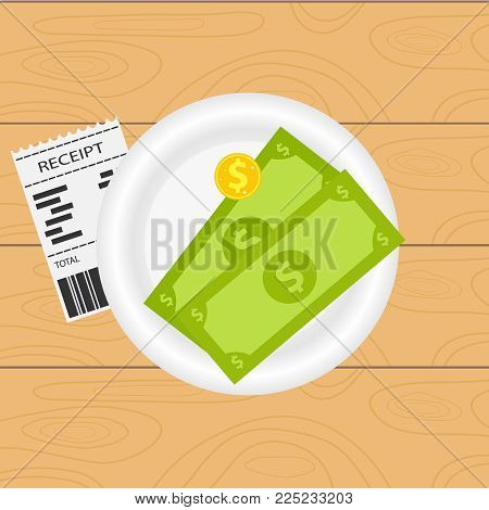 Payment Of An Invoice In A Restaurant. Money Lies On A White Plate Next To The Bill For Payment. Res
