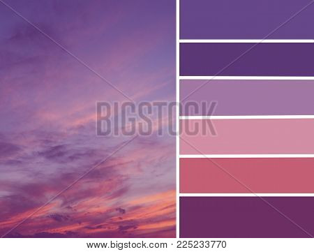 Palette Of Sunset Sky. Color Matching Palette With Violet And Pink Colors