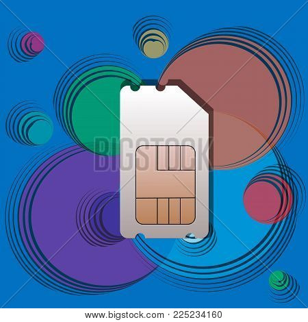 Vector SIM Cards Mobile chip. Vector icon. White