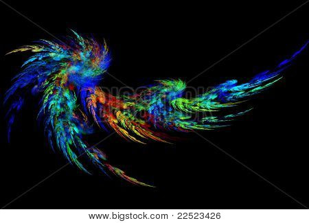 Blue color abstract feather