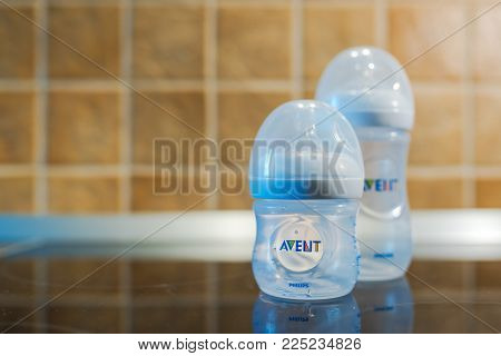Novi Sad, Serbia - February 04, 2018: Philips Avent Classic Baby Feeding Bottles With Silicone Nippl