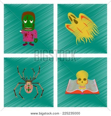 assembly flat shading style icon of zombie men ghost spider book skull