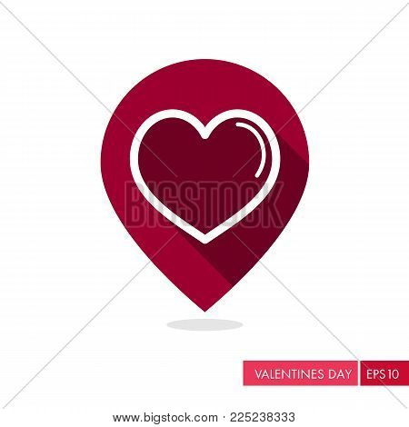 Heart pin map icon, Love symbol Valentine Day. Map pointer. Vector illustration, romance elements. Sticker, patch, badge, card for marriage, wedding