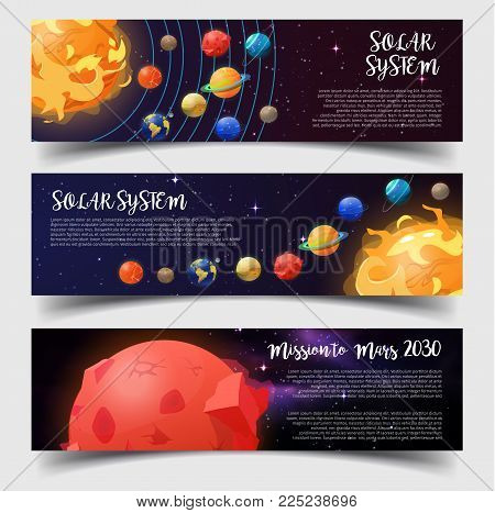 Set of isolated banners for solar system structure and mission or travel to Mars. Orbits with planets near Sun. Earth and Jupiter, Uranus and Saturn, Mercury. Universe and astronomy, cosmos theme