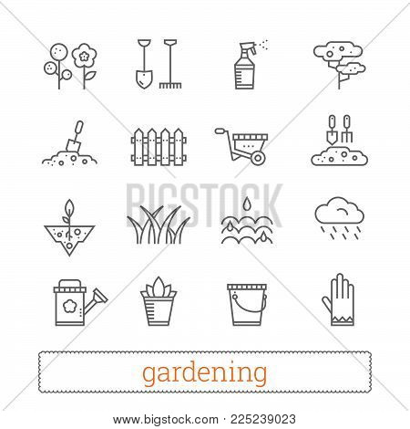 Gardening thin line icons. Vector set of plant growing and horticulture signs. Modern linear design elements for web interface and mobile services. Isolated on white background.