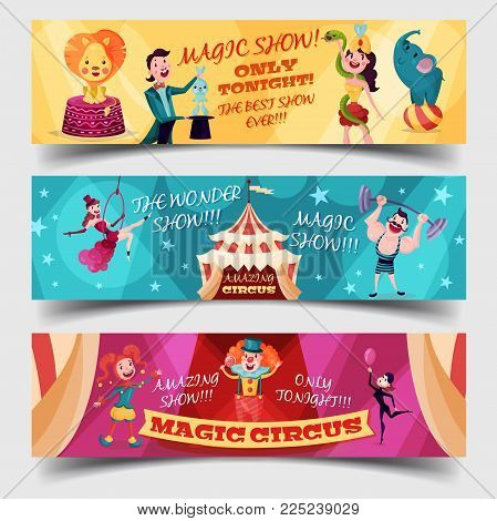 Set of isolated circus banner or tickets with magician pulling rabbit or hare from hat, acrobat or contortionist, equilibrist and strongman near tent or marquee, cartoon clown. Entertainment event