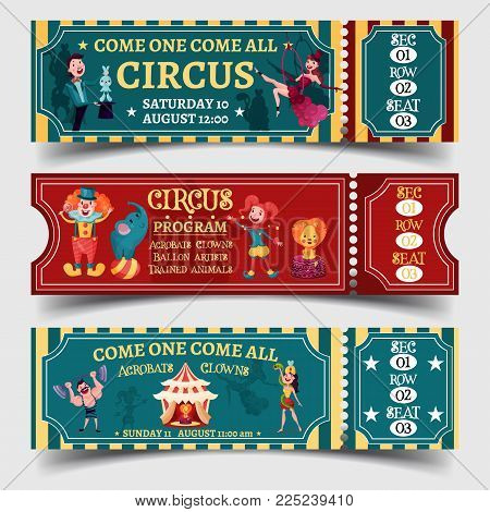 Set of isolated tickets for circus entertaining show with strongman and lady with snake, clown with elephant on ball and magician, acrobat or equilibrist. Performance and amusement, carnival theme