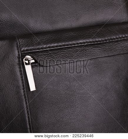 Men's Black Bag; Leather Texture Of A Handbag Close-up