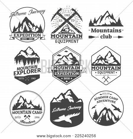 Set of isolated rocky summer or winter mountains silhouette landscape with bird and pickaxe, forest and arrows. Relief of high hills or peaks. Nature and travel, journey and tourism logo, badge