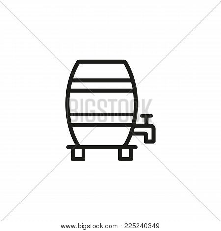 Icon of alcohol wooden vertical barrel. Beer, wine, whiskey. Whiskey and bar concept. Can be used for topics like pub, winery, restaurant.